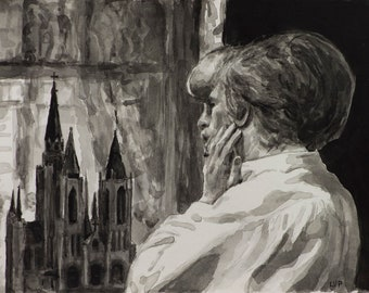 The Elephant Man watercolor 6x8in, original study from 1980 film by David Lynch