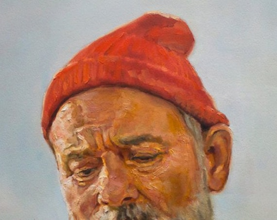 Steve Zissou Print from original oil painting, 13x19in fine art paper portrait of Bill Murray wearing the Team Zissou outfit from the film.