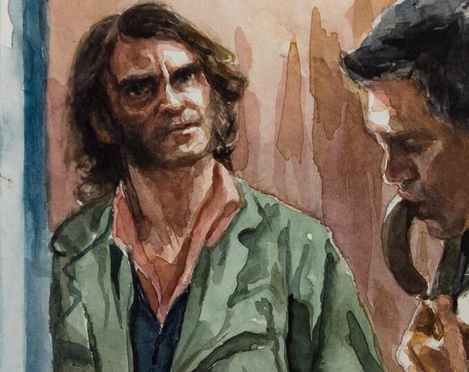 Inherent Vice watercolor 6x8in, Joaquin Phoenix as Doc Sportello