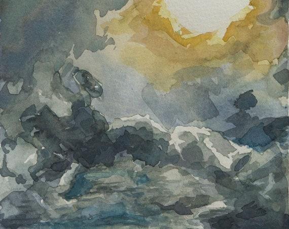 Original watercolor, 12x6in