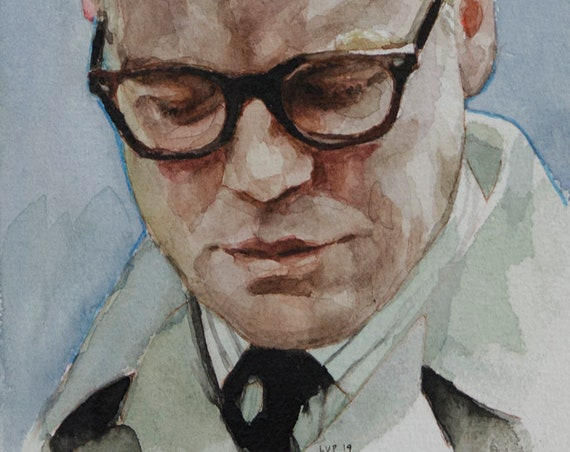 Capote (Philip Seymour Hoffman) watercolor, 8x6in