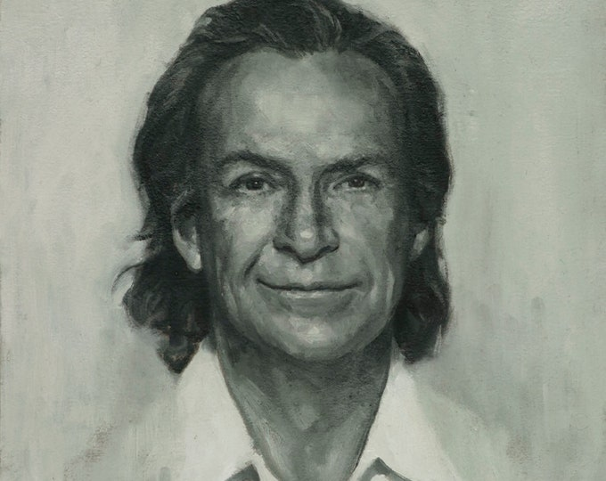 Richard Feynman, borderless print from painting