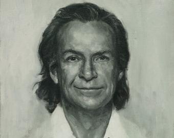 Richard Feynman, Oil Painting on paper