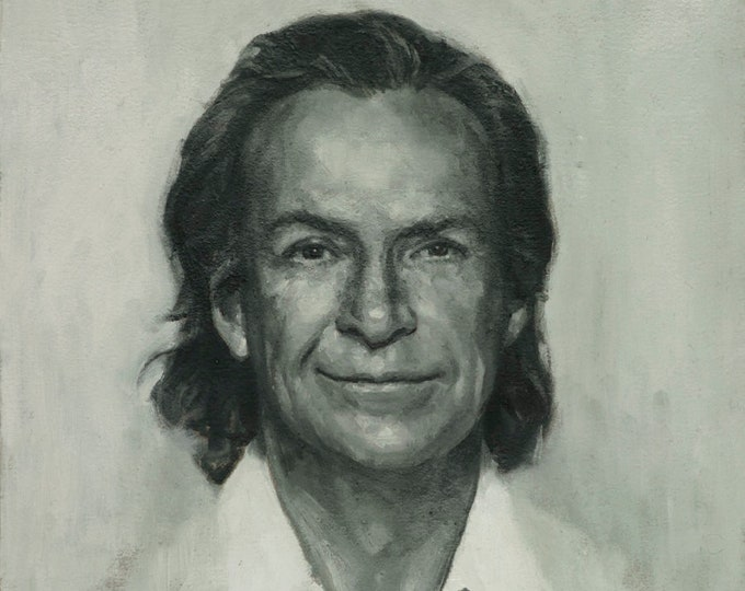 Richard Feynman, Oil Painting on paper