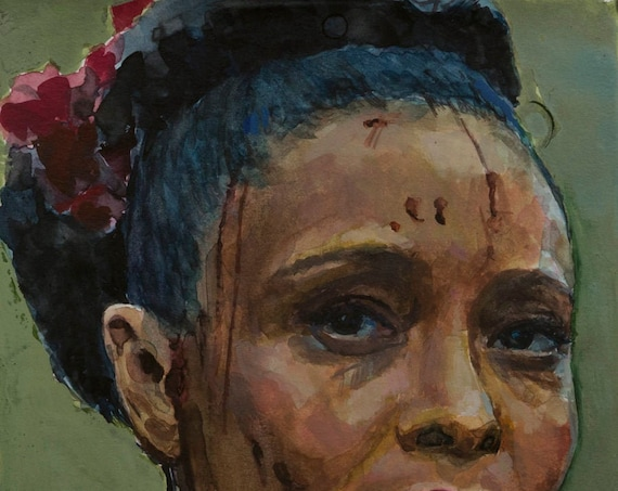 Maeve (Thandie Newton) watercolor, 8x6in, Westworld