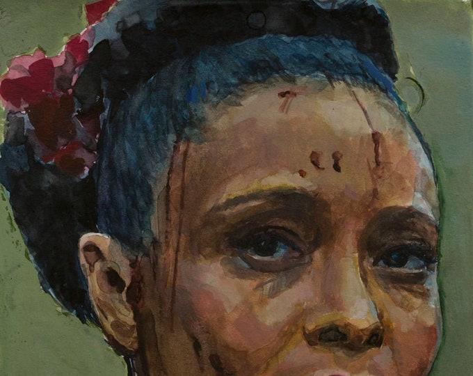 Maeve (Thandie Newton) watercolor, 8x6in, Westworld