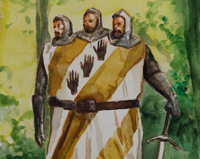 Monty Python watercolor 6x8, Three-Headed Giant