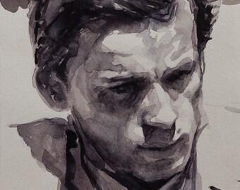 Glenn Gould 6x8in, watercolor portrait