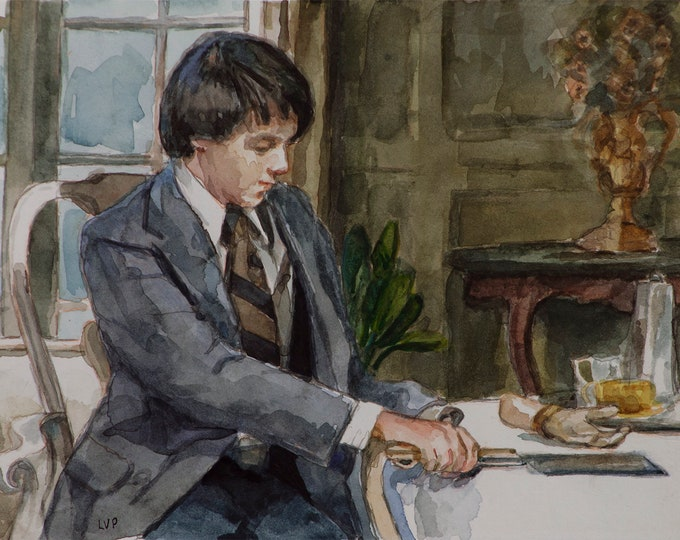 Harold and Maude watercolor 6x8in, Bud Cort