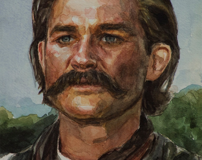 Wyatt Earp watercolor 6x8in, Tombstone - Kurt Russell portrait