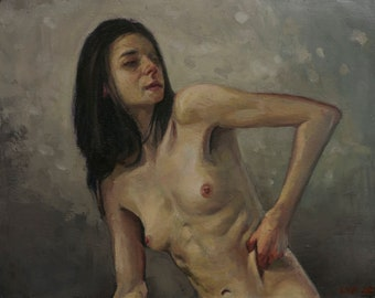 Untitled, figurative oil painting original by LVP