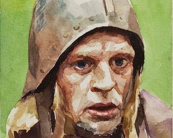 Aguirre (Kinski) watercolor, 8x6in
