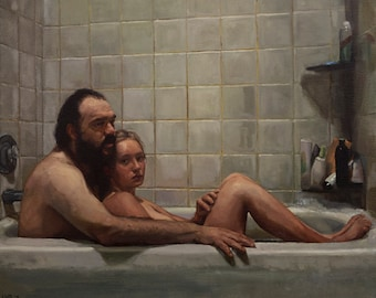 Figures in Bathtub, Oil on Canvas