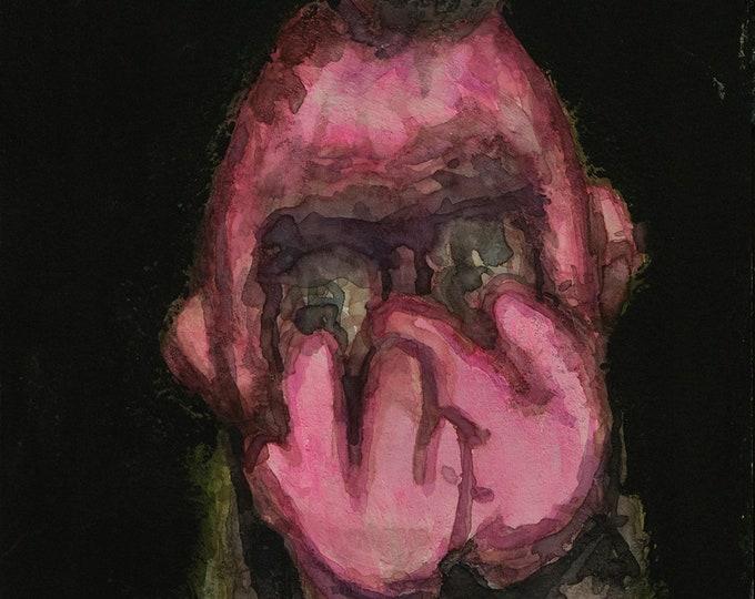 Original mixed-media painting, 8x6in