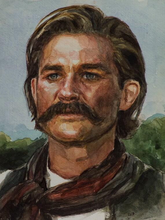 Wyatt Earp watercolor 6x8in, Tombstone - Kurt Russell portrait