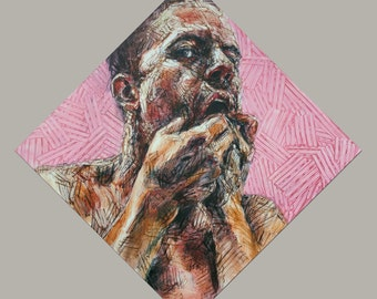 Contempt of Mind VIII, Oil Stick Painting