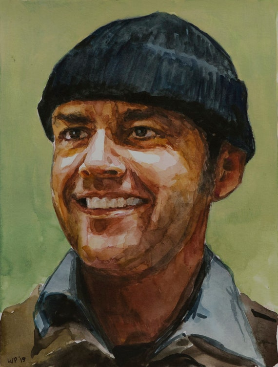 Jack Nicholson watercolor, 8x6in, R.P. McMurphy, One Flew Over the Cuckoo's Nest