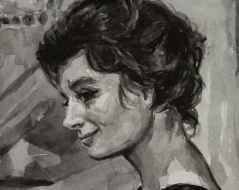 La Dolce Vita watercolor 6x8in, Anouk Aimée
