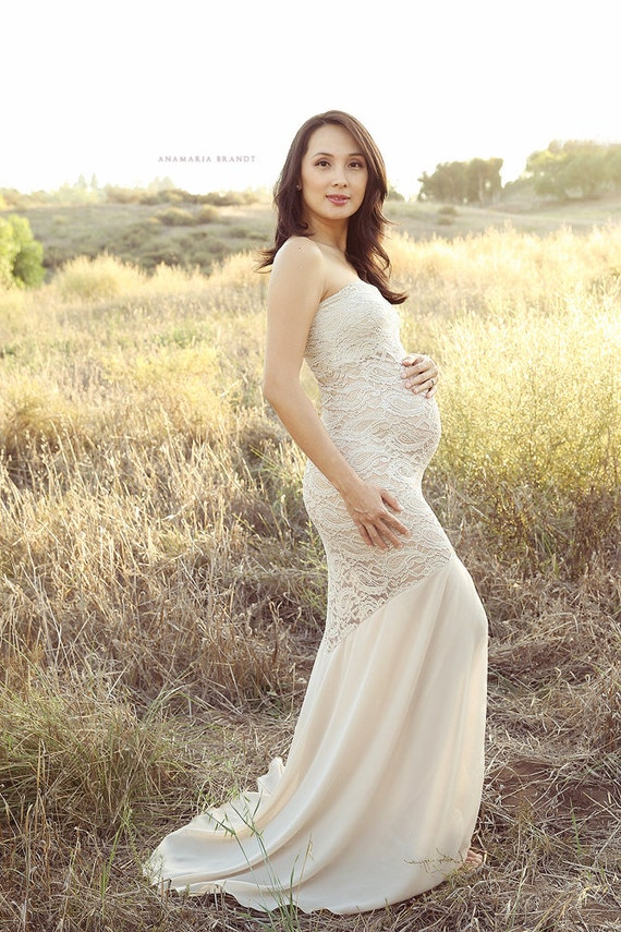 La Belle Mama Maternity Gown Strapless Maternity Gown | Etsy
