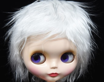 Short white faux fur wig hair for Blythe