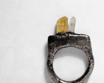 Architectural Geometric Imperial Topaz and Quartz Crystal Ring (6.5-7)