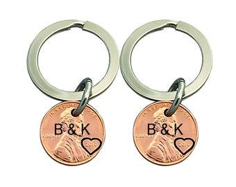 2 Personalized Keychain Set - Boyfriend Gift - Girlfriend Gift - Stamped Penny - Anniversary Gift - Wedding Gift - Husband, Wife Gift