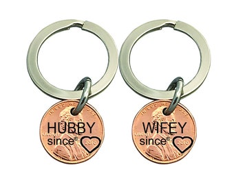 2 Personalized Keychain - Couples Hand Stamped Penny - Hand Stamped -  - Gifts for Couples - Husband since Gift - Wife since Gift