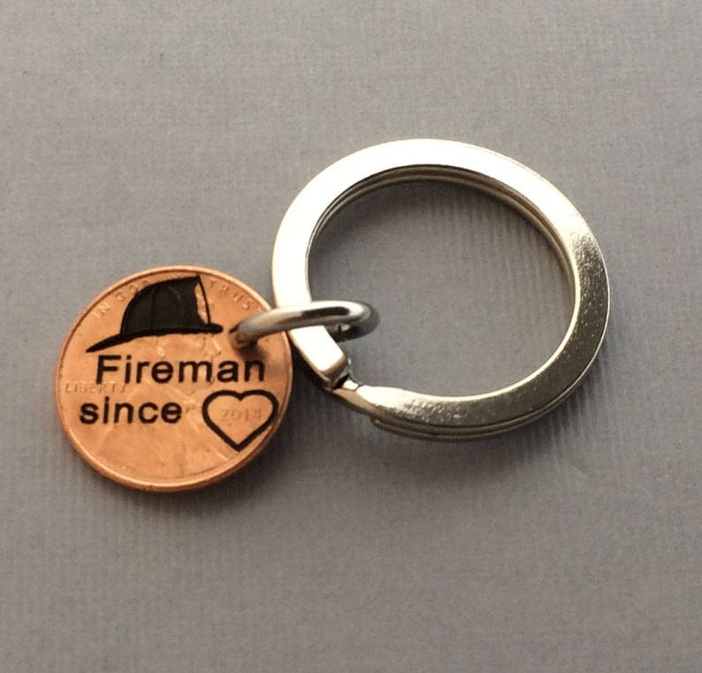 Engraved Penny - Fireman Keychain Gift for Friend Fireman Since Gift for Wife
