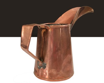 Antique Copper School Ink Pour Filler 1920s / Early Hand Soldered Copper Inkwell Filler Pitcher Long V Trough Spout /Copper Inkwell Filler
