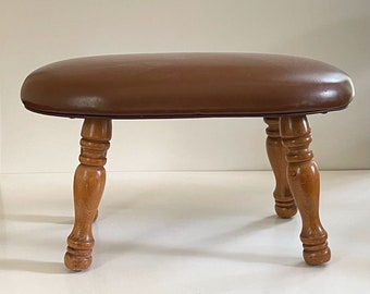 """Cognac Low Naugahyde Footstool / Footstool Drawing Room Foot Stool  / Faux Leather Footstool 15"""" x 9.50"""" x 8.55"""" h / Child's Stool"""