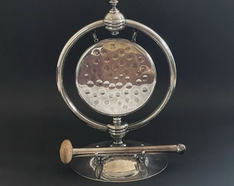 Antique Victorian Dinner Gong Silver EPC / Antique Suspended Table Gong / Hammered Dinner Gong
