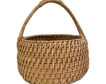 Round Woven Splint Basket / Splint Oak or Ash Basket / Round Splint Farm Farmhouse Primitive Decor