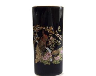 Japanese Oval Porcelain Peacock Vase //  Black Gold Peacock and Peahen //  Japanese Flower Blossoms Vase