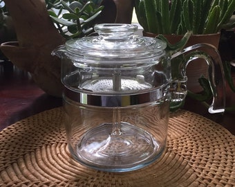 Vintage Pyrex 7756 Flameware 6 Cup Percolator Coffee Pot - Complete / Pyrex 6 Cup Percolator Clear Glass Percolator 7756