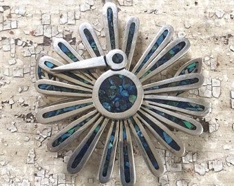 Tono Cecelia Taxco Pendant Mexican 925 Sterling Silver Modernist Peacock Mechanical Pendant
