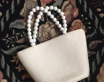 Vintage Talbot White Purse Beaded Handles / Talbot Straw White Purse with Beaded handles / White Summer Purse / Women's Accessories