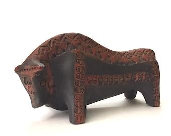 Bitossi Bull Art Pottery Mid Century Modern Art Pottery Vintage Reproduction of Aldo Londi's Work