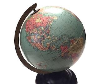"Replogle Desktop World Globe Sphere / Replogle World Globe Circa 1938-1948 / 10"" Replogle World Globe Made in USA / Educational World Globe"