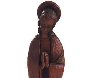 Chalkware Terracotta Madonna w Halo Statue / Vintage Statue Blessed Mother Mary / Catholic Madonna Statue / Plaster Madonna with Halo Statue