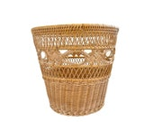 Small Natural Wicker Wastebasket Small Trash Basket Wicker Planter