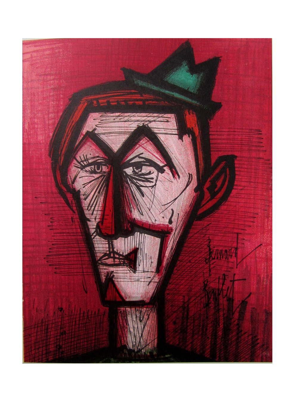 Fabulous Bernard Buffet Midcentury Lithographic Print The Clown On A Red Background Best Image Libraries Ponolprimenicaraguapropertycom