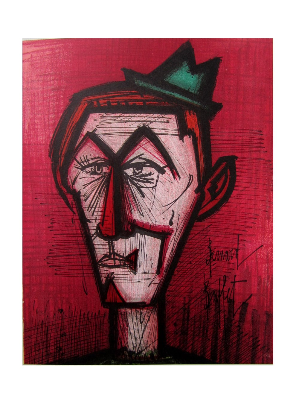 Awe Inspiring Bernard Buffet Midcentury Lithographic Print The Clown On A Red Background Interior Design Ideas Apansoteloinfo