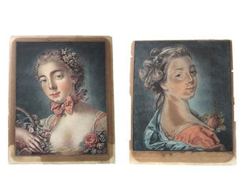 Antique 18th Century Engravings after Francois Boucher  (1703-1770) - French Pastellist
