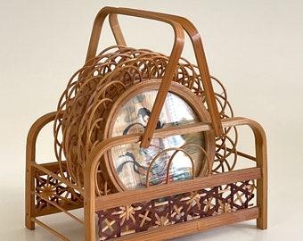 Vintage Bamboo Geisha Coaster Set and Caddy / Japanese Decorative Asian Oriental Home Decor