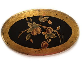 Florentine Oval Botanical Painting Wall Art Wood Wall Hanging Plaque / Italian Florentine Floral Wall Art / Cottagecore Wall Art Plaque