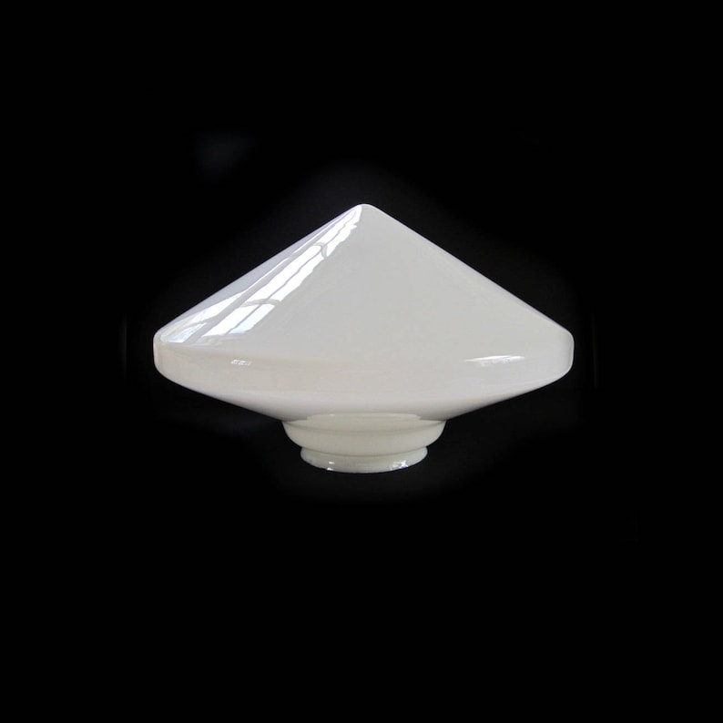 MCM Atomic Conical Ceiling Shade  Glass Pendant Conical Shade  Very Large White Glass Mid Century Modern Lighting