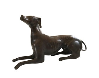 Bronze Pointer Dog Sculpture  Art Deco / Vintage Bronze Recumbent English Pointer / Vintage Pointer Sculpture