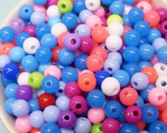300 x 6mm petit Multi couleur résine Multi couleur Globe perles