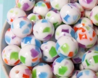 perles Multicolore puce résine juteuse Globe 20 x 12mm