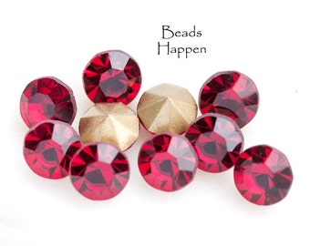 39ss Chatons, 39ss Siam Ruby Chatons, 39ss Round Chatons, Red Chatons, Quantity 10